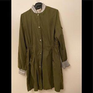 Zara long jacket olive green